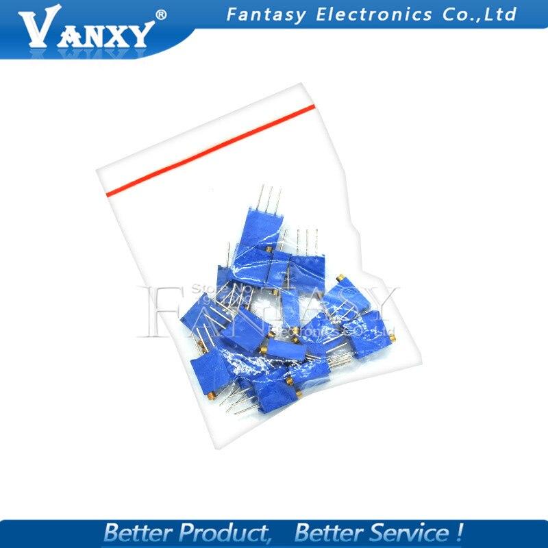 15valuesx1 шт = 15 шт 100ohm-2Mohm 0,5 Вт 3296 3296 Вт переменные резисторы многооборотный Подстроечный резистор регулируемый прецизионный потенциометр комплект