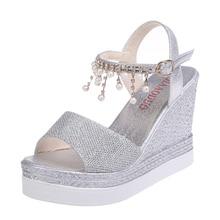 Women Shoes 2019 Summer New Silver Casual Shoes Wedges Sandals Female High-heeled Platform Sandals Muffin Bottom Women Sandals