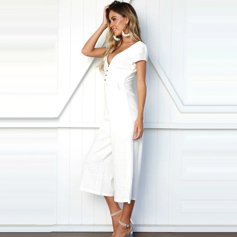 1d2a2e77296 Ursohot Sexy V Neck Solid Linen Jumpsuit Women 2018 Summer Short Sleeve  Buttons Wide Leg Rompers Vintage Party Overalls Female-in Jumpsuits from  Women s ...