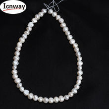 5strands Natural AA baroque white freshwater Pearl 8-9mm For Jewelry Making 15inches DIY necklace FreeShipping Wholesale