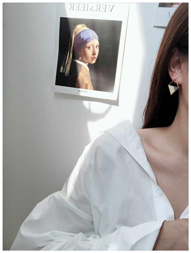 HUANZHI japonya kore yeni sevimli asetik asit geometrik üçgen kare akrilik dikiş küçük damızlık küpe kadınlar kız toptan için