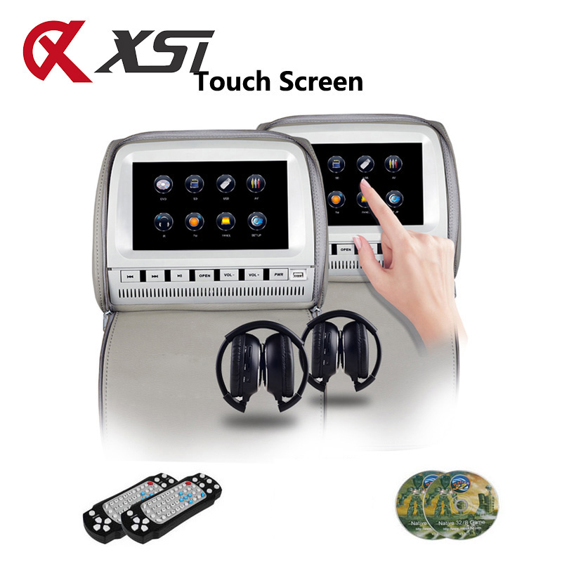 XST 2PCS 9 Inch Car Headrest Monitor DVD Video Touch Screen Player Zipper Cover TFT LCD