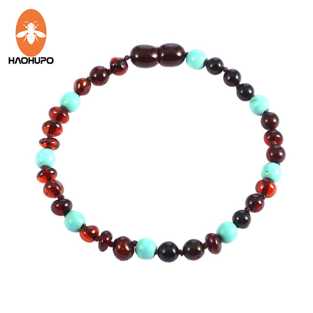 HAOHUPO Amber Teething Bracelet/ Necklace for Baby with Turquoise Natural Amber