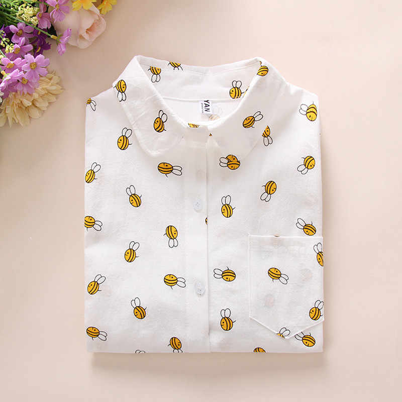 c9cf7cae4 Cheap Female Clothes Large Size Slim White Women's Blouse Bee Cactus  Printed Ladies Blouses Top Casual