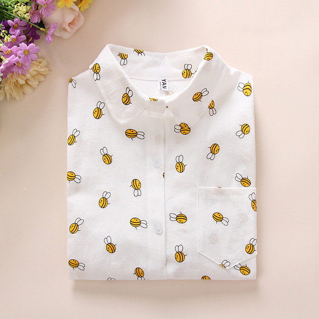 bc66c3b7a87c4 US $19.35 |Cheap Female Clothes Large Size Slim White Women's Blouse Bee  Cactus Printed Ladies Blouses Top Casual Cartoon Shirt Girl School-in  Blouses ...