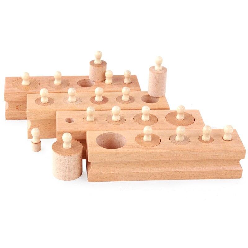 Bébé jouets Montessori 4 pièces/ensemble de bois mathématique orme douille cylindre famille Pack bébé Puzzle jouets éducatifs
