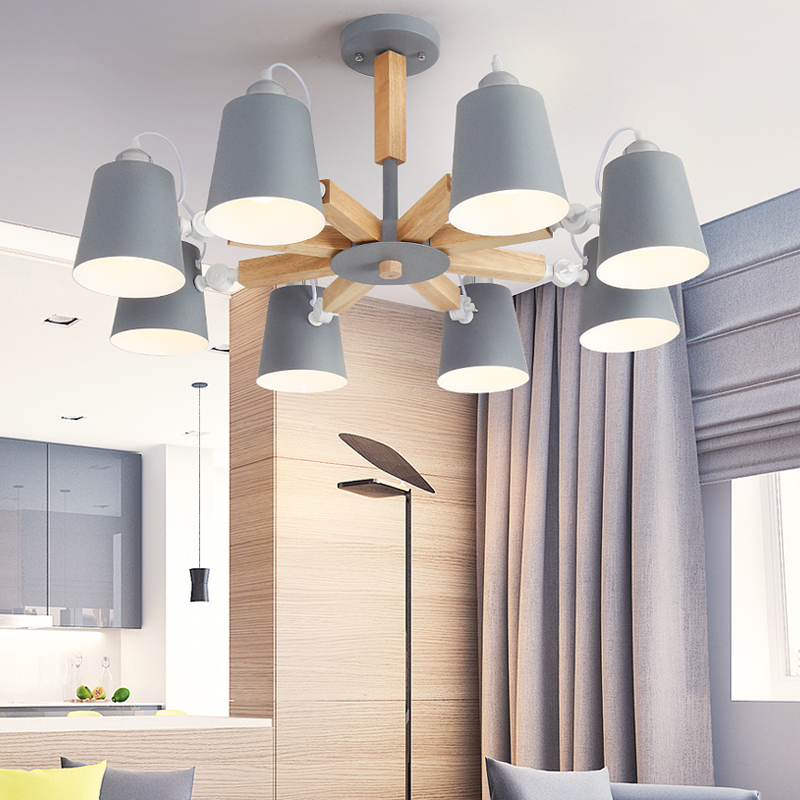 Modern Wood Pendant Lights Colorful Macaron color iron lamp shade Luminaire Diningroom Lights Pendant Lamp For Home Lighting