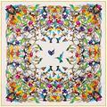 130*130cm Women large twill 100% silk square scarf birds print designer scarves luxury high quality lady shawl hijab headwear