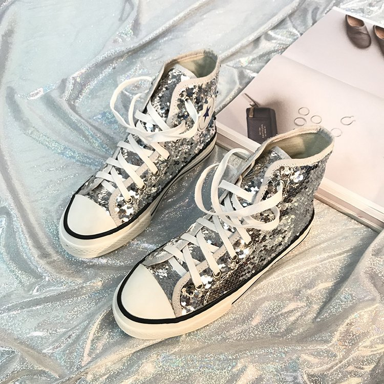 Tleni 2018 New High Top White Women Flats running Shoes Ladies Canvas Shoes lace-up Bling Bling sneaker shoes ZK-20 12