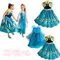 Возраст 3-10 2017 Эльза Анна Косплей костюм платье принцессы девушки платья Детей платья партии vestido Menina infantis ребенка одежда