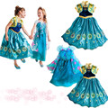 3-10 idade 2017 Elsa Anna traje Cosplay vestido de princesa meninas vestidos de festa para Crianças vestidos infantis vestido De Menina bebê roupas