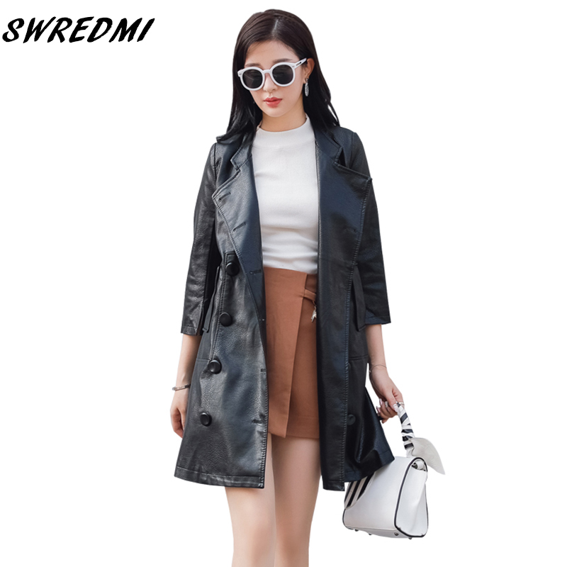 SWREDMI 2019 New Spring And Autumn Women Long   Leather   Coat High Street Three Quarter Sleeve Fashion   Leather   Trench Outerwear