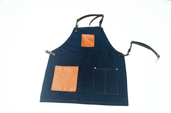 Denim Kitchen Cooking Apron with Adjustable Cotton Strap Large Pockets Blue Barista Men and Women Homewear
