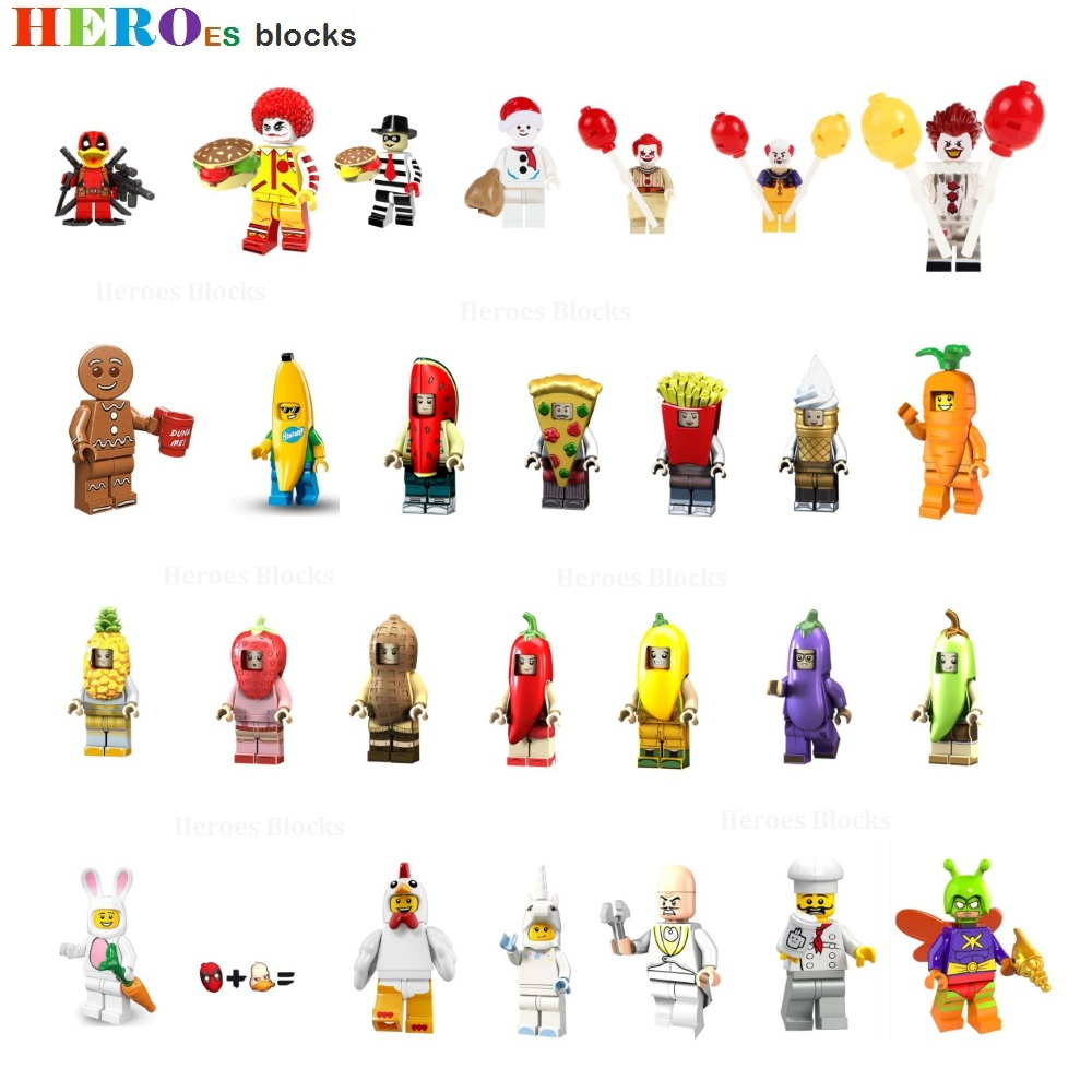 Fruits Food Snowman Ronald McD Joker Building Blocks Killer Dr. Eggman Banana Peanut Pizza Figure Bricks Toys Compatible Legoed