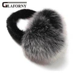 Glaforny Mode Trend Winter Fuchs Pelz Ohrenschützer Volle Leder Natürliche Nerz Gehörschutz Thermische Mädchen frauen Ohrenschützer Super warme