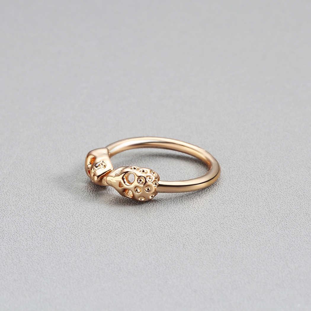 Todorova ที่ไม่ซ้ำกันปรับแหวนบุรุษ Punk Style Gold สีคู่ Skeleton Skull Knuckle แหวน Midi Finger แหวน