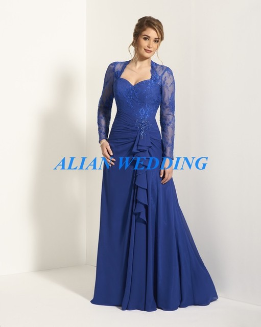 High Quality Royal Blue Long Sleeve Mother of the Bride Dress 2015 ...