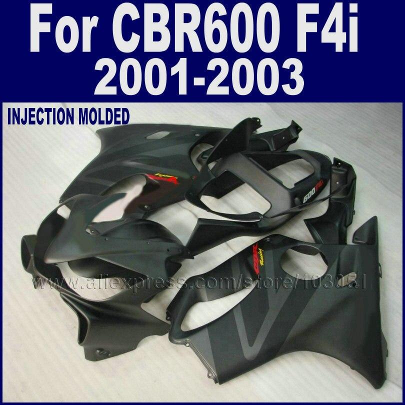Abs da motocicleta kit carenagem para Honda CBR 600 F4i carenagem conjunto de 2001 2002 2003 cbr600f4i 01 02 03 matte black carroçaria peças