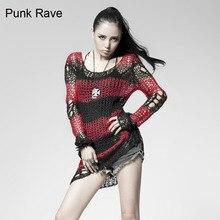 Punk Gothic SWEATER Visual Kei fashion Kera Red Shirt Top TOP Black Steampunk pullover
