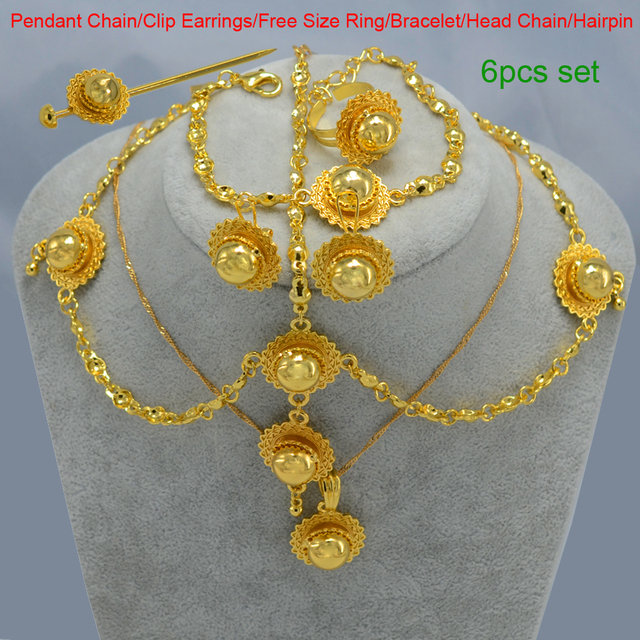 Ethiopian Small Jewelry set Women/Girl Silver/Gold Plated Hair Pice/Pendant Chain/Earing/Ring/Hair Pin/Bracelet Eritrea Wedding