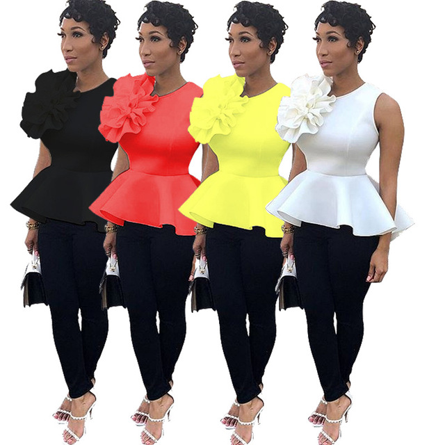 Women Summer Blouse Shirt Sleeveless Tank Tops Peplum Yellow White Black Elegant Modest Officewear Classy Female Spring Clothing