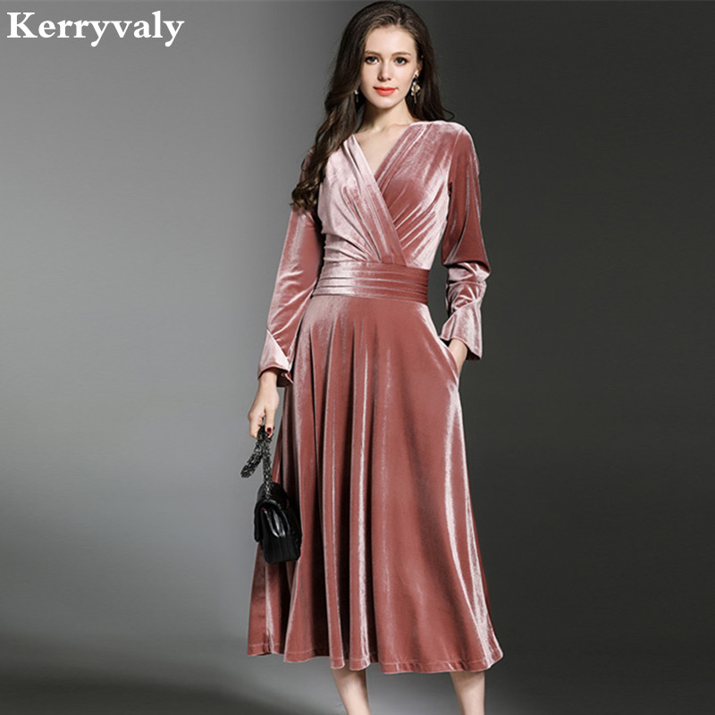 Peacock Blue Velvet Maxi Dress Winter Dresses Women 2019 Vestido Longo V neck Big Pendulum Long