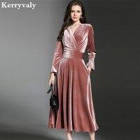 Peacock Blue Velvet Maxi Dress Winter Dresses Women 2018 Vestido Longo V Neck Big Pendulum Long