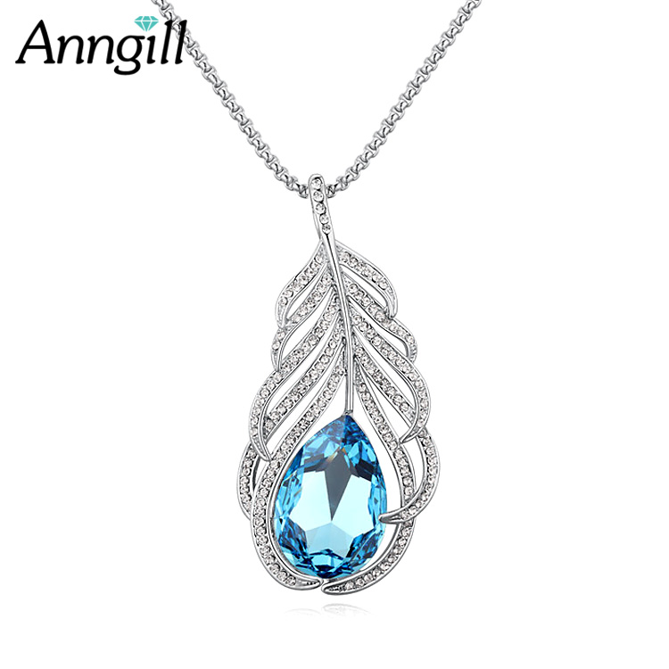 ANNGILL Crystals From Swarovski Feather Statement Long