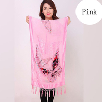 New Chinese National Women Silk Velvet Scarf Shawl Triangle Pashmina Poncho Handmade Beaded butterfly Cape Mujeres Bufand 1105