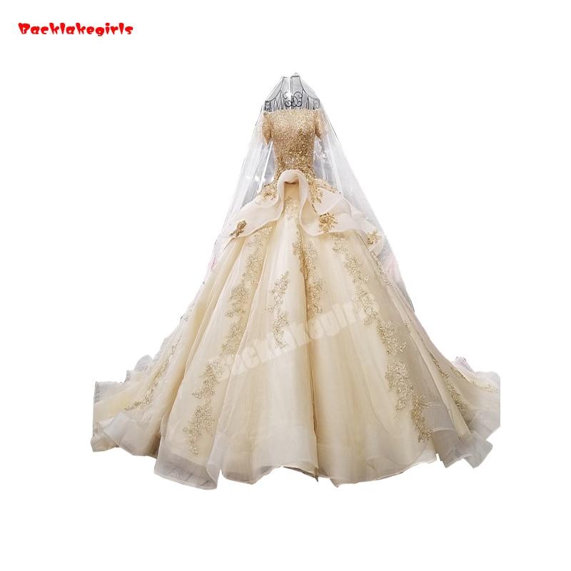 2019 New Sexy Indian Style Ball Gown Lace Veil Off The Shoulder Fluffy Wedding Dress Vestido De Novia