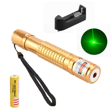Big sale Green/Red 650nm 1mw Laser Pointer Pen Adjustable Powerful Starry Head Burning Light+One Rechargeable 18650 Battery+Charger
