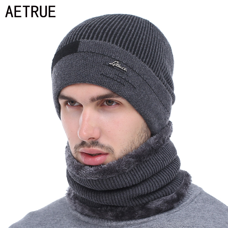 AETRUE Skullies Beanies Men Scarf Knitted Hat Cap Male Plus Gorras Bonnet Warm Wool Thick Winter Hats For Men Women Beanie Hat
