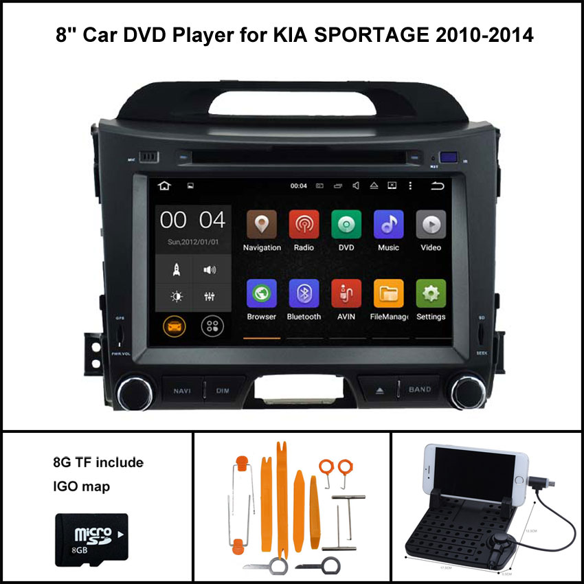 Android 7.1 Quad Core CAR DVD Player for KIA SPORTAGE 2010-2014 SAT NAV RADIO 1024X600 HD SCREEN WIFI/3G+DSP+RDS+16GB flash
