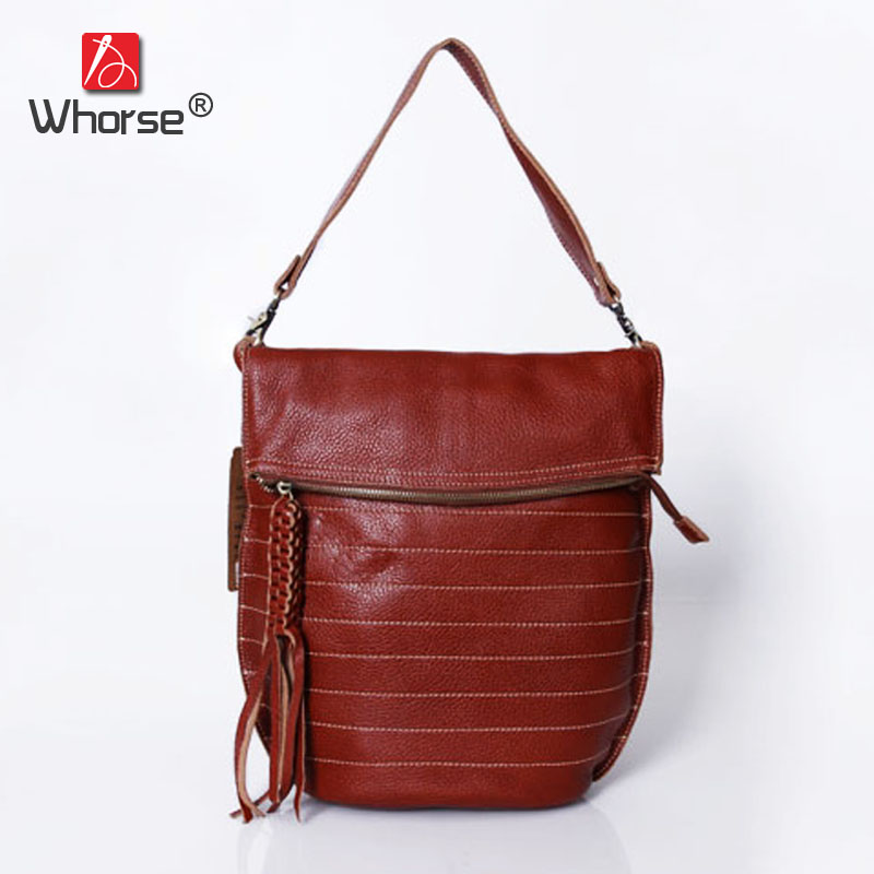 Handmade Fold Over Casual Tassel Striped Bag Genuine Leather Womens Real Cowhide Designer Handbag Messenger Bags For Women W0922 top quality handmade vintage casual bag genuine leather womens real cowhide designer handbag messenger bags for women w092544