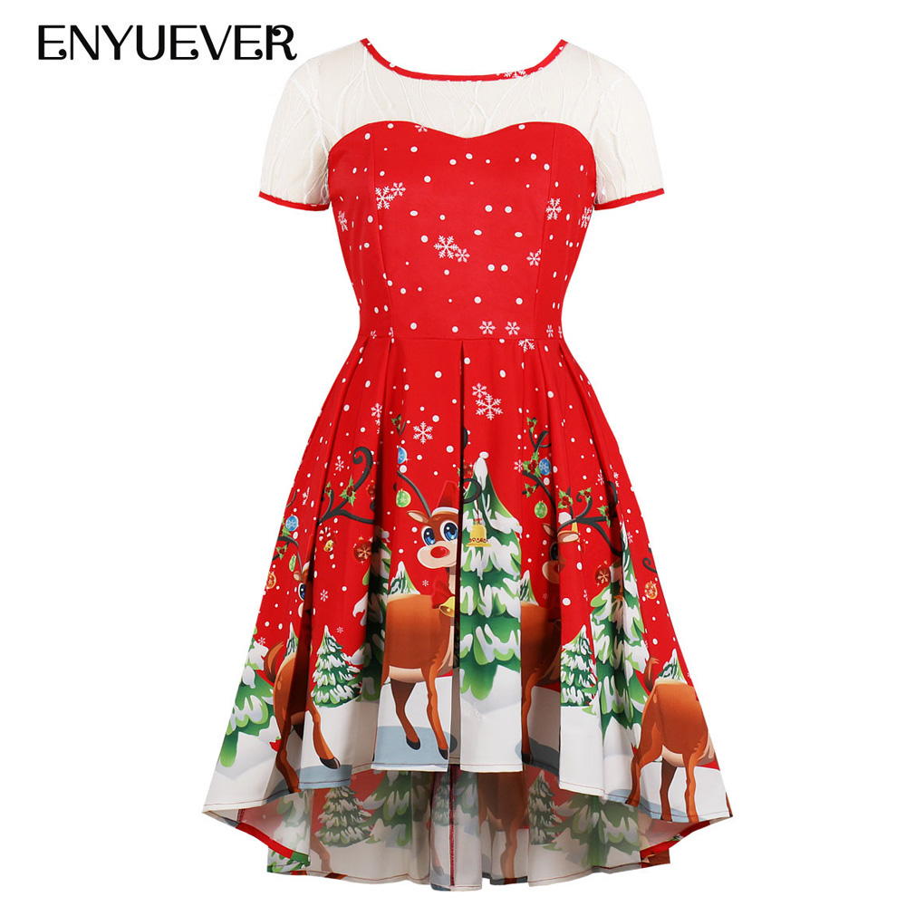 Enyuever Red Christmas Dress Plus Size Women 4XL Vestido Vintage Snow Elk  Print Robe Noel Xmas High Low Party Dress Kerst Jurk