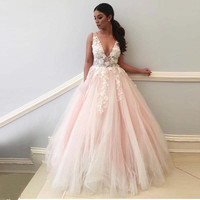 2019 Sexy V Neck Backless Wedding Dresses Flowers Lace Appliques Pink Bride Dress Robe De Soiree Hot New Wedding