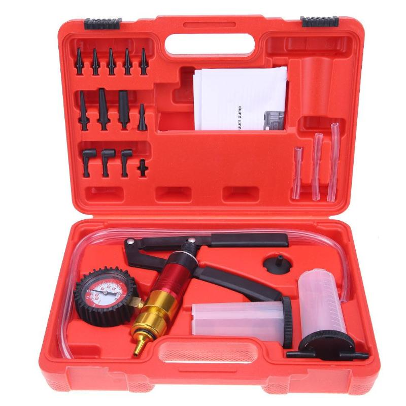 21Pcs/set Car Auto Handheld Vacuum Pistol Pump Brake Bleeder Adaptor Fluid Reservoir Oil Tester Tools Kit Auto Diagnostic tool