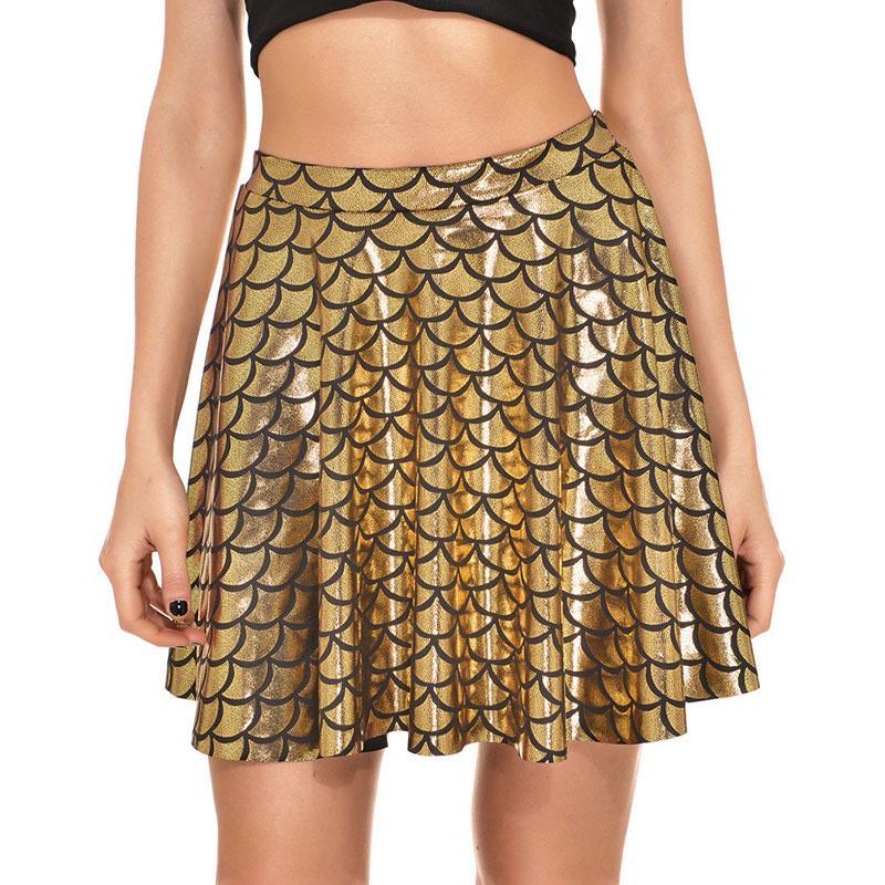 2017 Big Size 4XL Summer Fish Scales Short Skirt Women Asymmetrical Mini Skirt Sexy Plaid Pleated Party Skirt