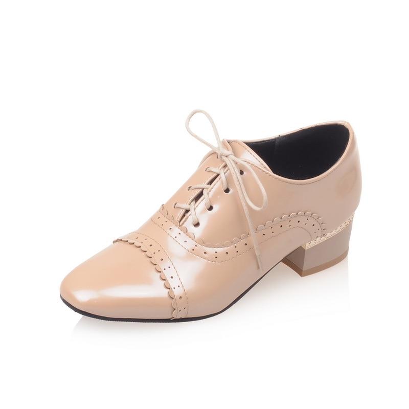 B 2017 32 Tamaño Charol 46 blanco Negro Moda rojo Up Nueva Otoño Lace Brogue Primavera Zapatos Venta Plataforma Mujeres 4 apricot Toe Square Más rIwqUrt
