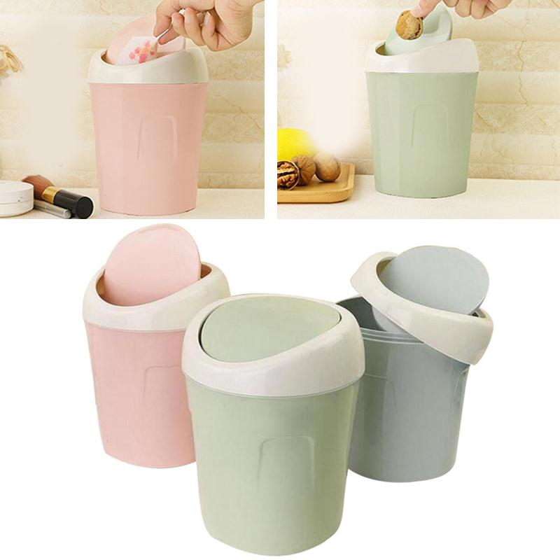 2pcs Garbage Rubbish Dustbin Container,Tiny Desktop Trash Can with Swing Lid