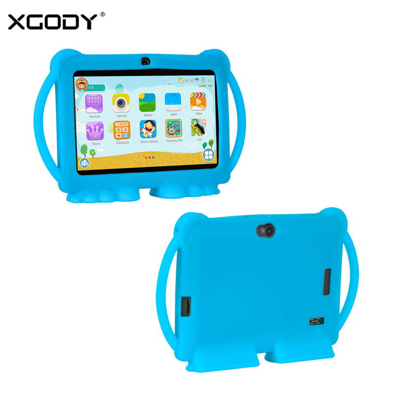 7 Inch Kids Children Learning Tablet Android 8.1 1GB 16GB Quad Core Education Toys Tablets WiFi Dual Camera With PC Tablet Case