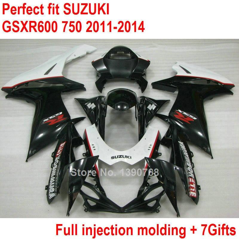 Fairing kit for Suzuki injection molding GSXR600 GSXR750 11 12 13 14 black fairings set GSXR 600 750 2011 2012 2013 2014 HZ07
