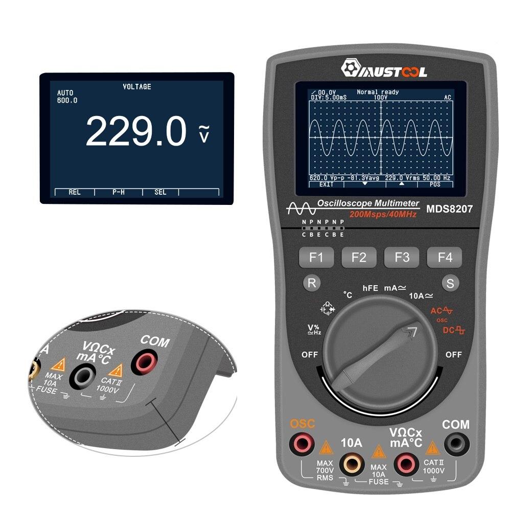 El más nuevo multímetro de osciloscopio Digital inteligente MUSTOOL MDS8207 2 en 1, probador automático de una tecla, 40 MHz, 200Msp con Grap analógico - 4