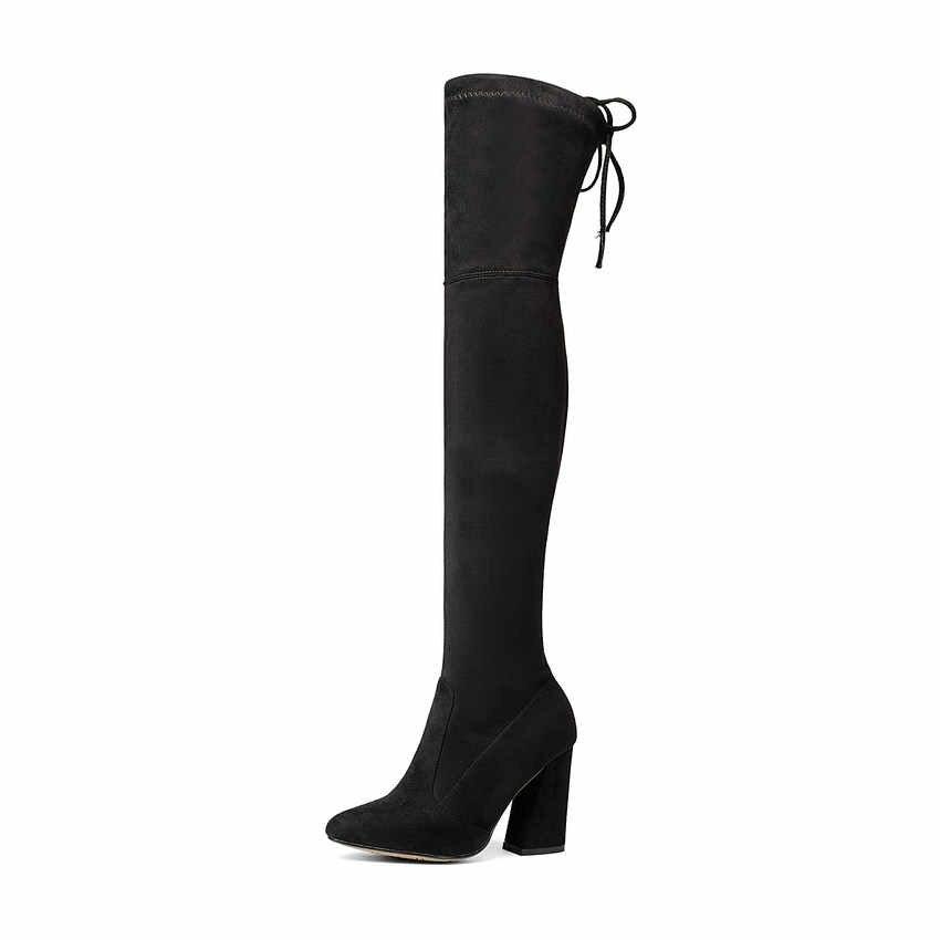 QUTAA 2020 ใหม่ FLOCK หนังผู้หญิงกว่าเข่าบู๊ทส์ Lace Up รองเท้าส้นสูงเซ็กซี่ฤดูใบไม้ร่วงผู้หญิงรองเท้าผู้หญิงฤดูหนาวรองเท้าขนาด 34-43