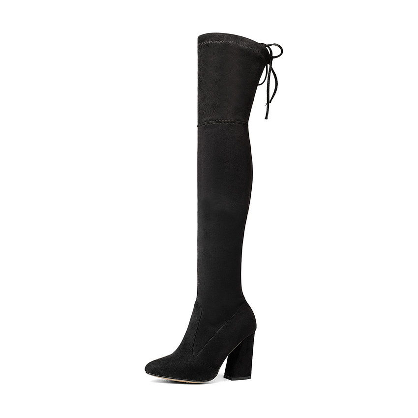 Flock Leather Over The Knee Boots Lace Up Sexy High Heels Autumn Winter Women Shoes 2