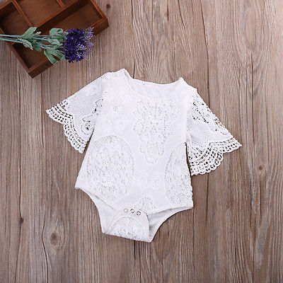 2017 Infant Baby Mädchen Lace Floral Weiß Solide Kurzarm Jumpsuit Body Outfits Sunsuit Ein-stücke