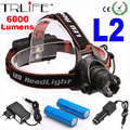 Headlamp LED Head light CREE L2 6000Lm 3 mode Zoomable Waterproof Headlight Head lamp +2*18650 Battery +AC Charger +Car Charger