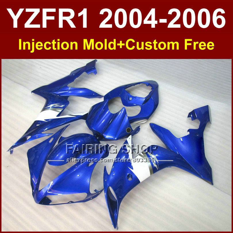 Custom abs motorcycle injection fairings set for yamaha r1 2004 2005 2006 yzfr1 yzf1000 04 05 06 blue
