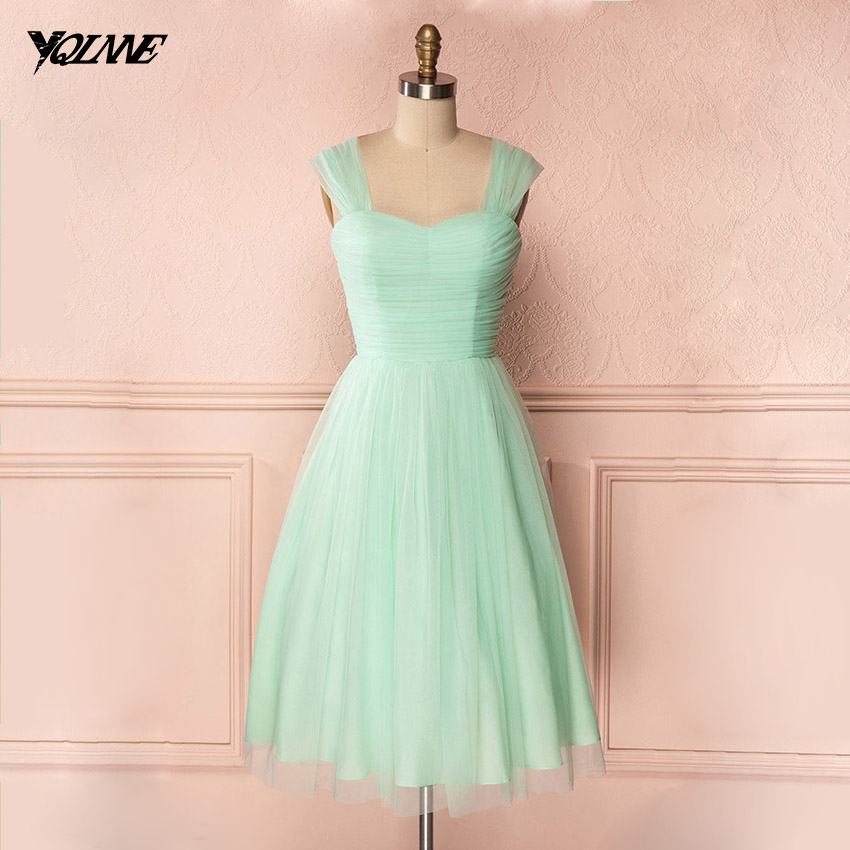 Simple Mint Green Cocktail Party Dresses Straps Zipper Back Knee Length Women Dress Real Photos