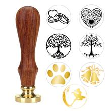 1pc Tree Pattern Wax Seal Stamp Retro Wooden Antique Sealing Wax Scrapbooking Stamps Craft Wedding Decorative Invitation 20 15 pieces round sealing wax stick bar as office supplies wedding invitation card stamp wax seal glue gun use 20 colors choose